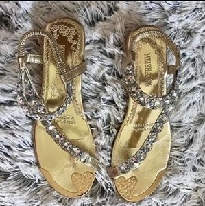 Shoes - Gold w/ Silver Rhinestones Sandals
